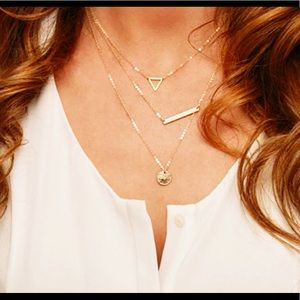 Jewelry - 3 Layer Triangle & Coin Bar Necklace